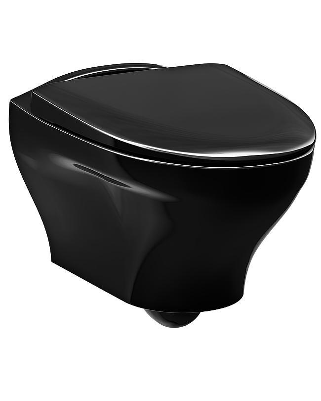Gustavsberg Vägghängd toalett Estetic 8330 - Hygienic Flush, svart med hårdsits och soft close