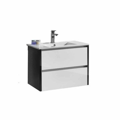 QBad Kalix Tvättställskommod Högblank Svart/Vit 80 cm