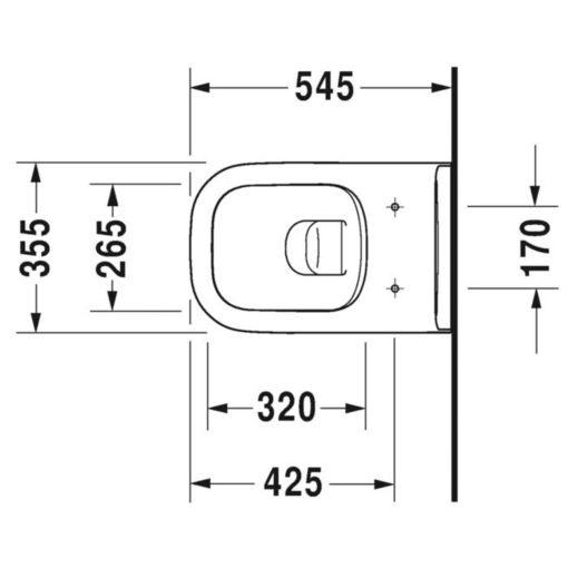 Duravit D-Code vägghängd WC-skål ink soft close sits
