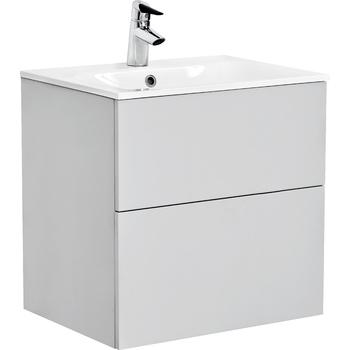 Alterna Isella Kommod Med Tvättställ i Mineralkomposit 90 cm Ljusgrå Matt