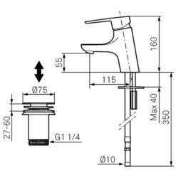 Mora Cera B5 Tvättställsblandare Med Push-downventil