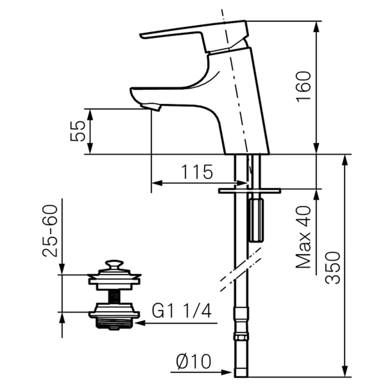 Mora Cera B5 Tvättställsblandare inkl silpluggsventil, krom