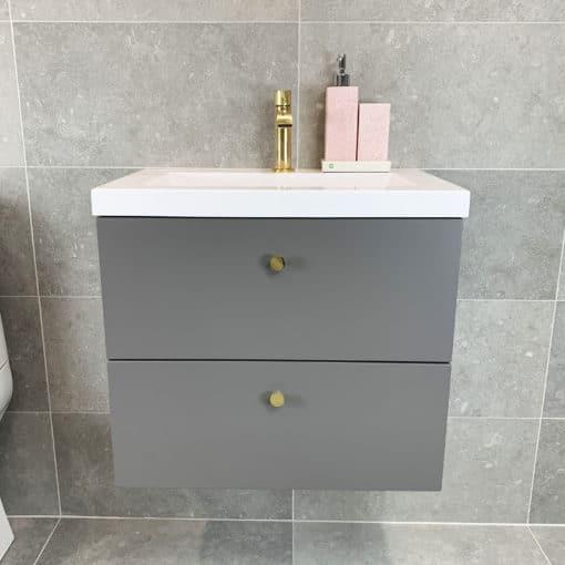 tvättställskommod grå matt 60 cm qbad