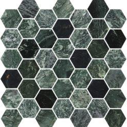 Bricmate Marmormosaik U Hexagon Medium Green Marble Polished 50x50