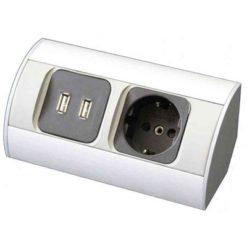 Eluttag Hörn till badrumsmöbler Med Jordad Eluttag och 2 st USB-portar, 140 cm anslutningssladd A-Collection