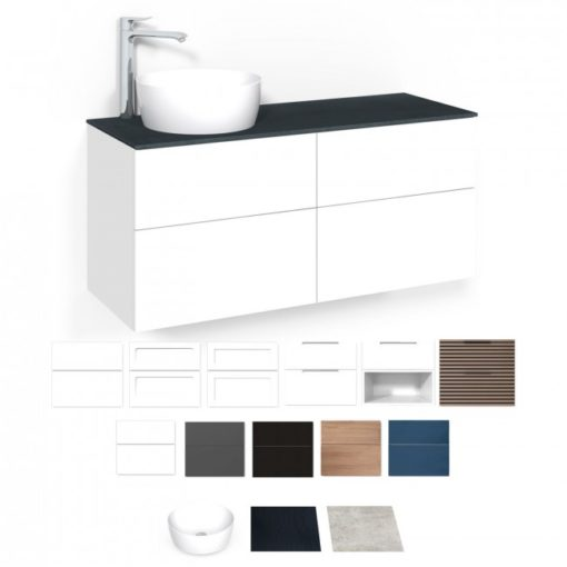 Tvättställsskåp Macro Design Crown 120 cm Lådfront Grip/Linoleum