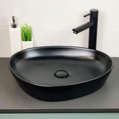 fristående handfat tvättställ svart triangel