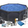 Pool Basic 120 Ø350 cm Black Graphite Swim & Fun