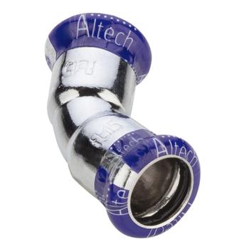 Kopparpress Förkromad 15 mm 45° 2 Muff Altech Press M-profil