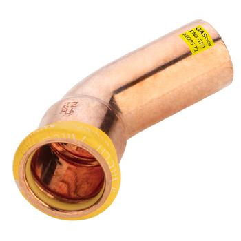 Kopparpress Gas 15 mm 45° 1 Muff Altech Press M-profil