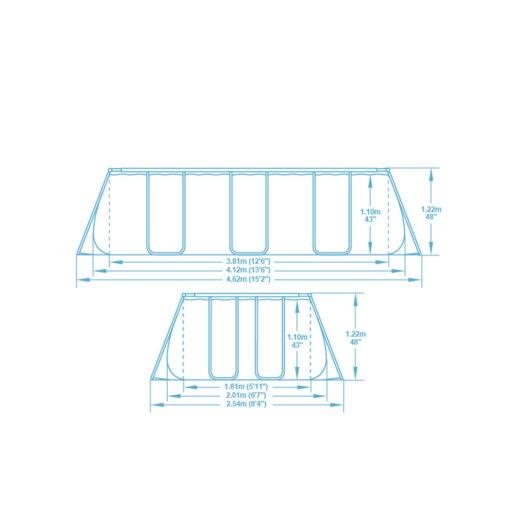 Rektangulär pool 412x201x122cm 5in1 Bestway 56457