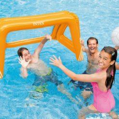 Uppblåsbart fotbollsmål Intex 58507 med boll för pool