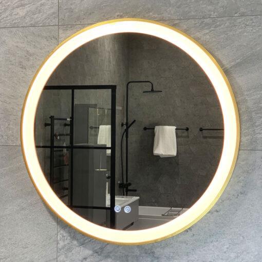 spegel med guldkant rund qbad