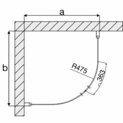 Duschhörna 80x90 cm Arrow Round Med Svart Profil