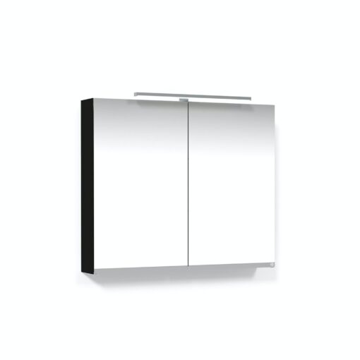 Spegelskåp 80 Svart Ek T-Belysning LED Eluttag Macro Design