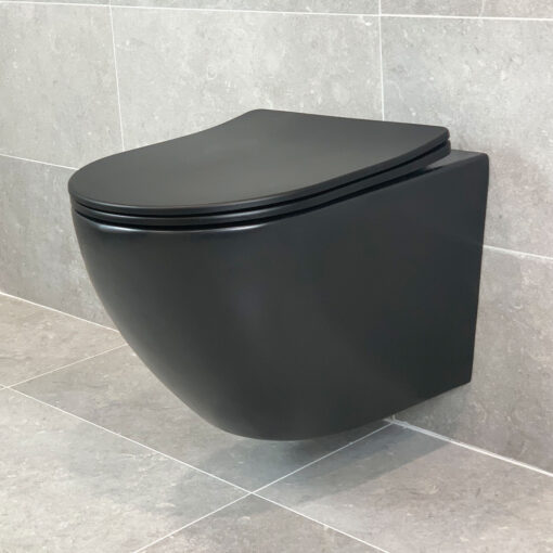 Vägghängd Toalettstol Svart Matt Qbad Round