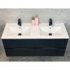Tvättställsskåp Med Handfat QBad Djursholm Svart Matt 120 cm