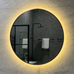 Rund Spegel Brushed Black Chrome & Belysning QBad Halmstad 70 cm