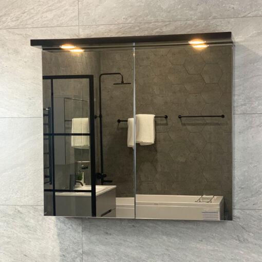 Spegelskåp QBad Solsidan Svart Matt 80 cm